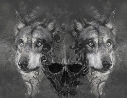 Wolf illustration. Tattoo design over grey background. textured backdrop. Artistic image